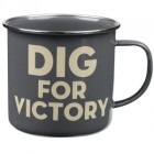 "Thoughtful Gardener Enamel Mug ""Dig for Victory"""