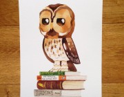Wise Owl - Birds & Books A4 Print
