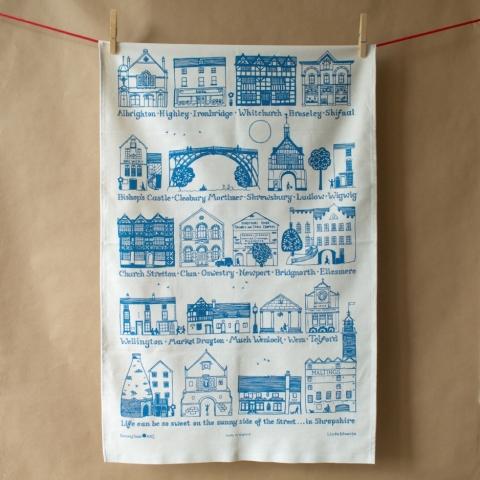 Shropshire Towns Tea Towel - Blue