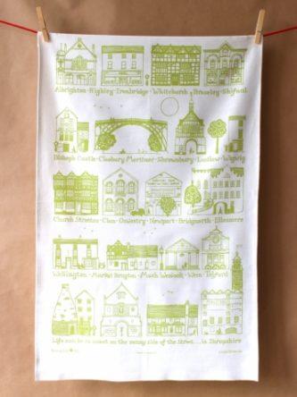 Shropshire Towns Tea Towel - Green