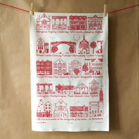 Shropshire Towns Tea Towel Red
