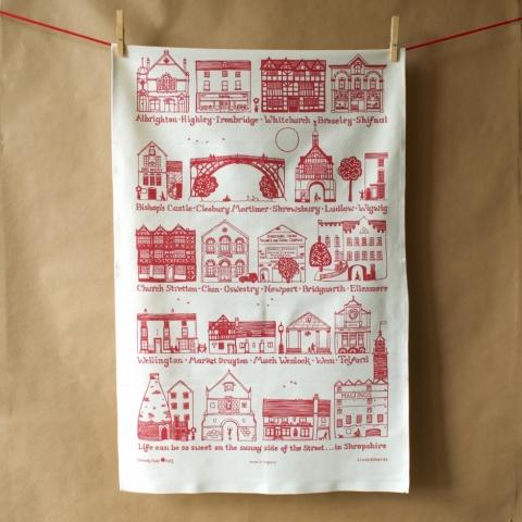 Shropshire Towns Tea Towel Red